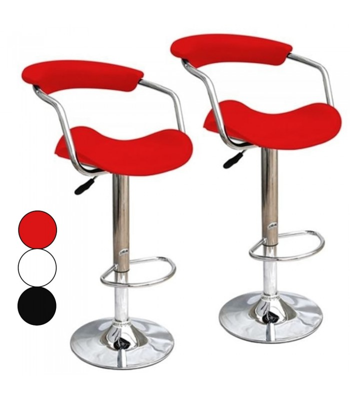 tabouret de bar rouge noir ou blanc simili cuir cavaly. Black Bedroom Furniture Sets. Home Design Ideas