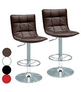 Tabouret de bar simili cuir matelassé design Kub 4 coloris - Lot de 2