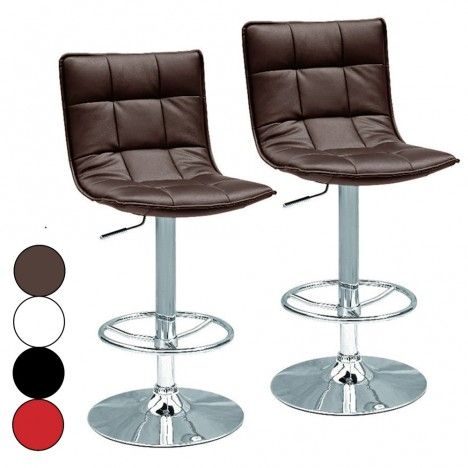Tabouret de bar simili cuir matelassé design Kub 4 coloris - Lot de 2 -