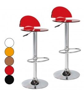Tabouret de bar acrylique design Fan 5 coloris - Set de 2 -