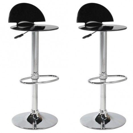 Tabouret de bar acrylique design Fan 5 coloris - Set de 2 -