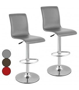 Lot de 2 tabourets de bar rouge gris ou chocolat en simili cuir Presy