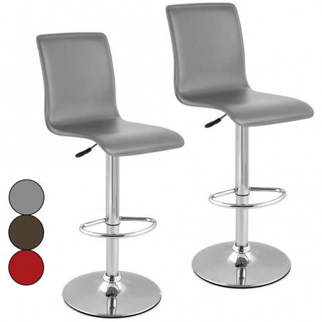 Lot de 2 tabourets de bar rouge gris ou chocolat en simili cuir Presy -