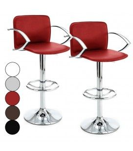 Tabouret de bar design avec accoudoirs Mag 5 coloris - Lot de 2