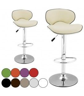 Tabouret de bar beige Qualy en simili cuir 10 coloris - Lot de 2 -