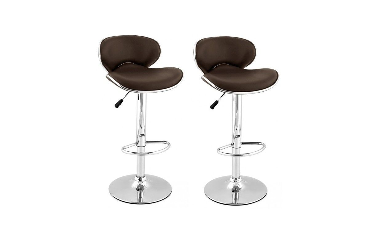 tabouret de bar en simili cuir design set de 2. Black Bedroom Furniture Sets. Home Design Ideas