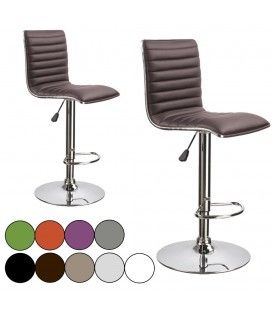 Tabouret de bar en simili cuir SLIMYO 9 Coloris - Set de 2