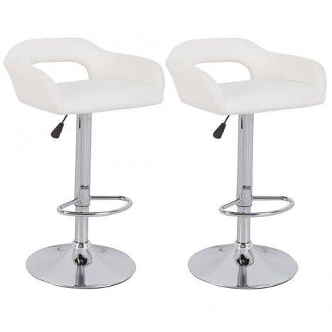 Chaise de bar design en simili cuir 5 coloris Minoa - Lot de 2 -