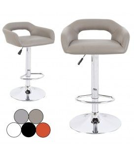 Chaise de bar design en simili cuir 5 coloris Minoa - Lot de 2