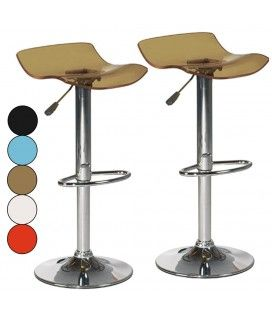 Lot de 2 tabourets de bar acrylique translucide Clic - 5 coloris -