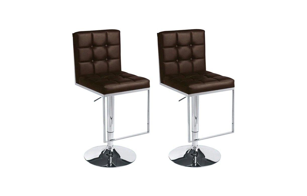 set de 2 tabourets de bar en cuir capitonn. Black Bedroom Furniture Sets. Home Design Ideas