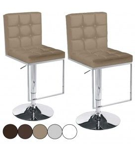 Tabouret de bar capitonné Vove 5 coloris - Set de 2 -