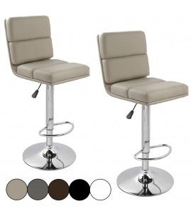 Tabouret de bar taupe BEN'S 5 Coloris - Set de 2