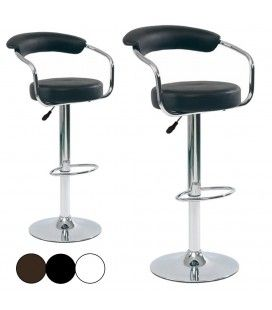 Tabouret de bar noir chocolat ou blanc Modely - Lot de 2 -