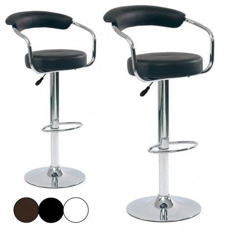 Tabouret de bar cavalier en simili cuir lot de 2 - Tabouret de bar noir et blanc ...