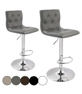 Tabouret de bar capitonné en simili cuir - Lot de 2 -