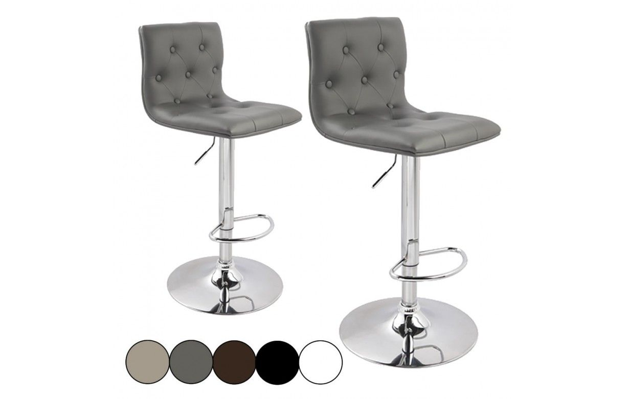 tabouret de bar capitonn en simili cuir lot de 2. Black Bedroom Furniture Sets. Home Design Ideas