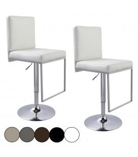 Tabouret de bar blanc WENY 5 Coloris - Set de 2