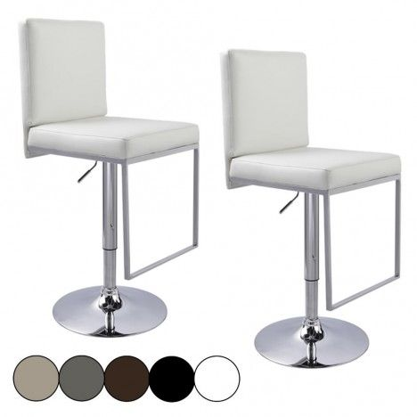 Tabouret de bar blanc WENY 5 Coloris - Set de 2 -