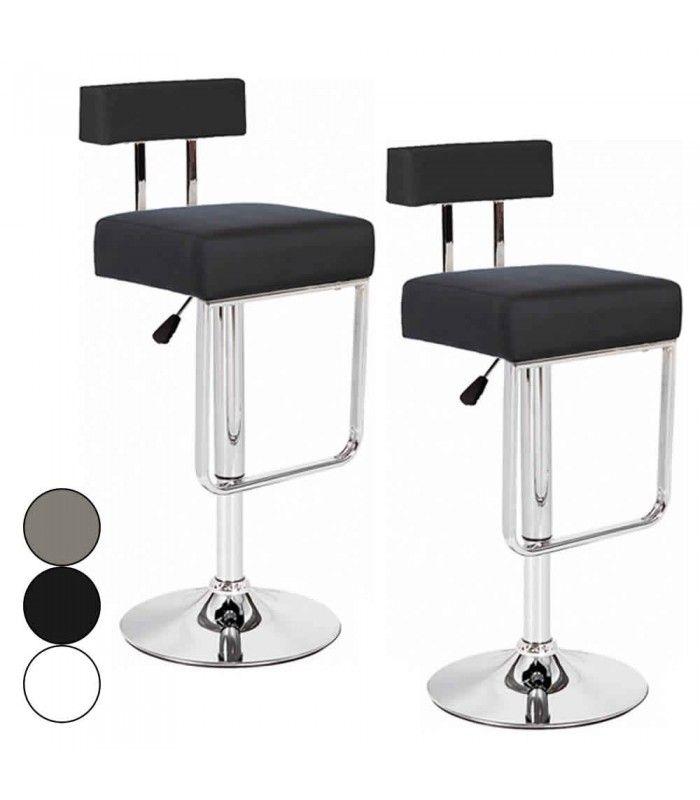 lot de 2 tabourets de bar simili cuir taupe noir blanc. Black Bedroom Furniture Sets. Home Design Ideas