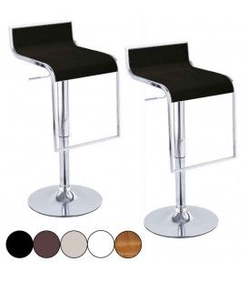 Set de 2 tabourets de bar noir design chrome et simili cuir Naxy - 5 coloris