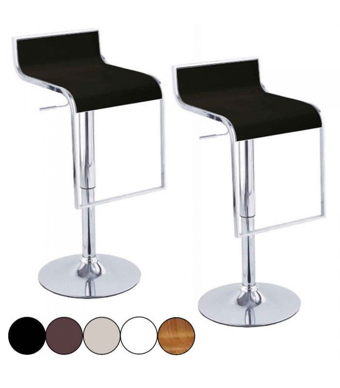 set de 2 tabourets de bar noir design chrome et simili cuir naxy 5 coloris decome store. Black Bedroom Furniture Sets. Home Design Ideas