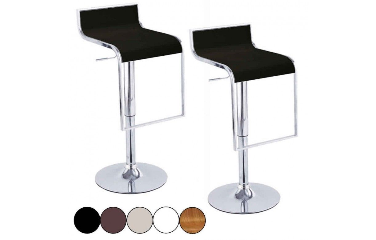 Set de 2 tabourets de bar noir design chrome et simili - Pied de tabouret bar chrome ...