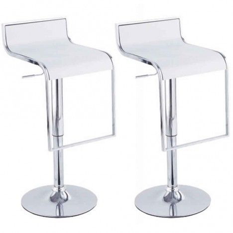 Set de 2 tabourets de bar noir design chrome et simili cuir Naxy - 5 coloris -