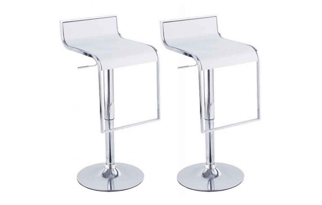 Set De 2 Tabourets De Bar Noir Design Chrome Et Simili Cuir Naxy 5