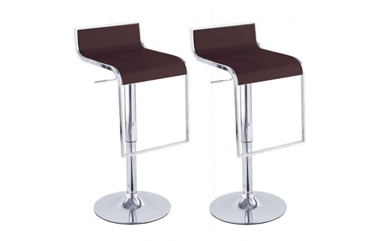 set de 2 tabourets de bar noir design chrome et simili. Black Bedroom Furniture Sets. Home Design Ideas