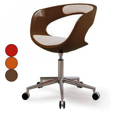 Fauteuil informatique à roulettes marron orange ou rouge Chic -