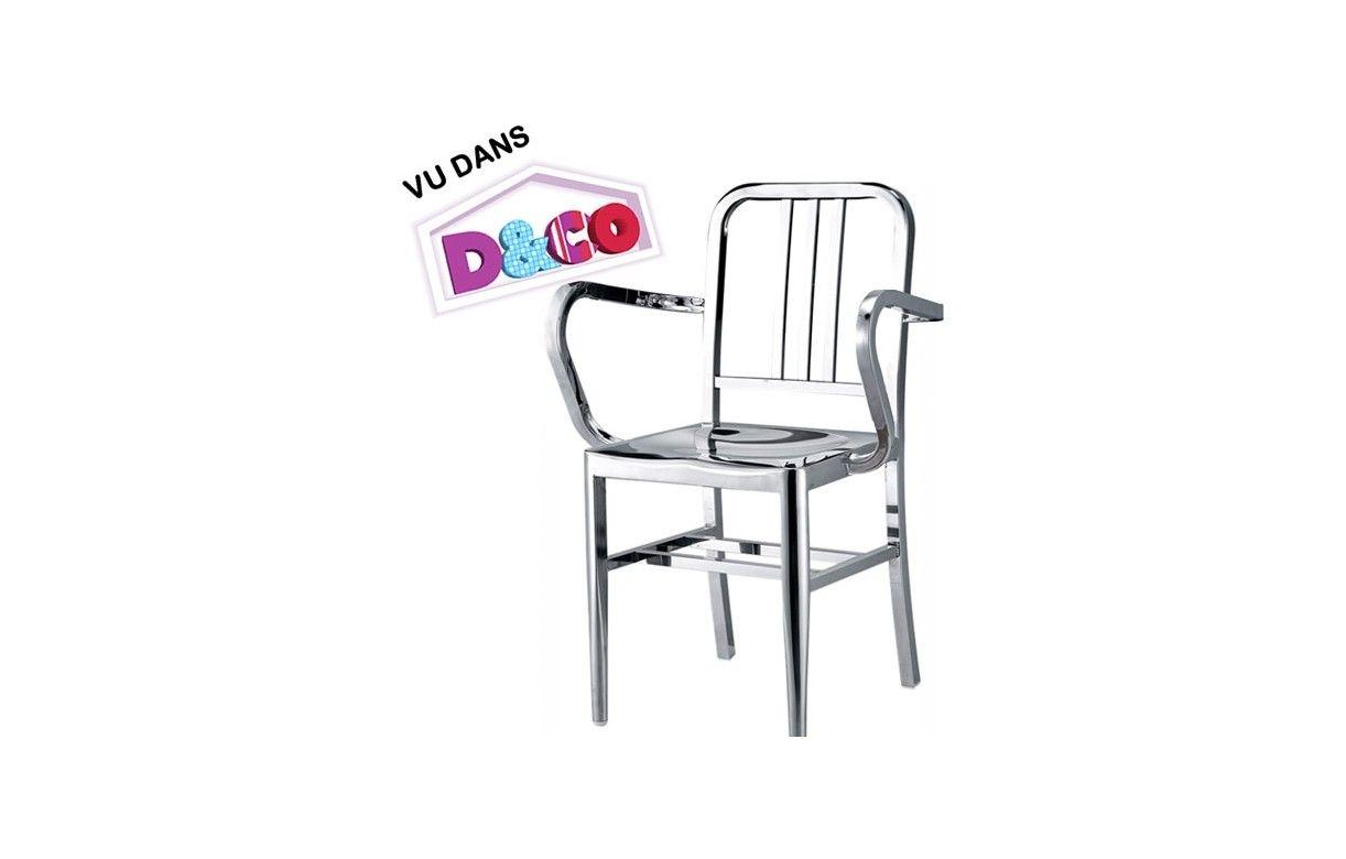 set de 2 chaises navy en inox poli design. Black Bedroom Furniture Sets. Home Design Ideas