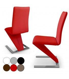 Lot de 2 chaises en cuir PU et piètement design SizeBis - 6 coloris
