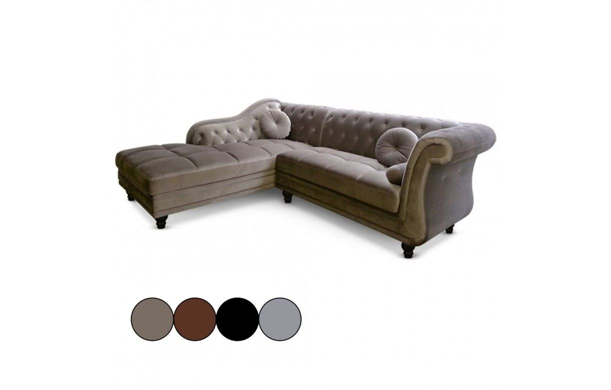 canap d 39 angle gauche en velours taupe chesterfield 3 coloris decome store. Black Bedroom Furniture Sets. Home Design Ideas