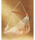 Chaise hamac mexicain écru avec filet en coton -