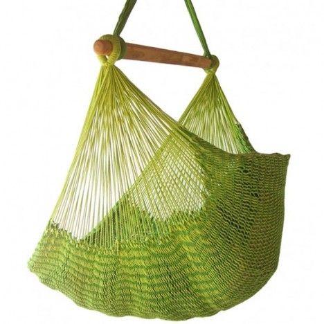 Hamac chaise mexicain vert en tissu 100% coton -