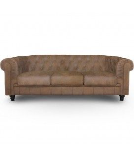 Canapé 3 places vintage capitonné Chesterfield -