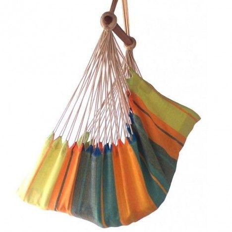 Hamac chaise multicolore avec filet 100% coton -