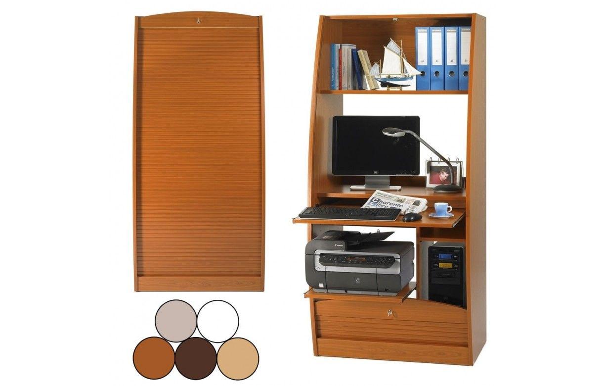 Armoire Secretaire Informatique A Rideau Deroulant Largeur 80cm 5 Coloris Decome Store