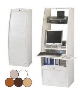 Bureau secrétaire informatique à rideau déroulant Largeur 60cm - 5 coloris -