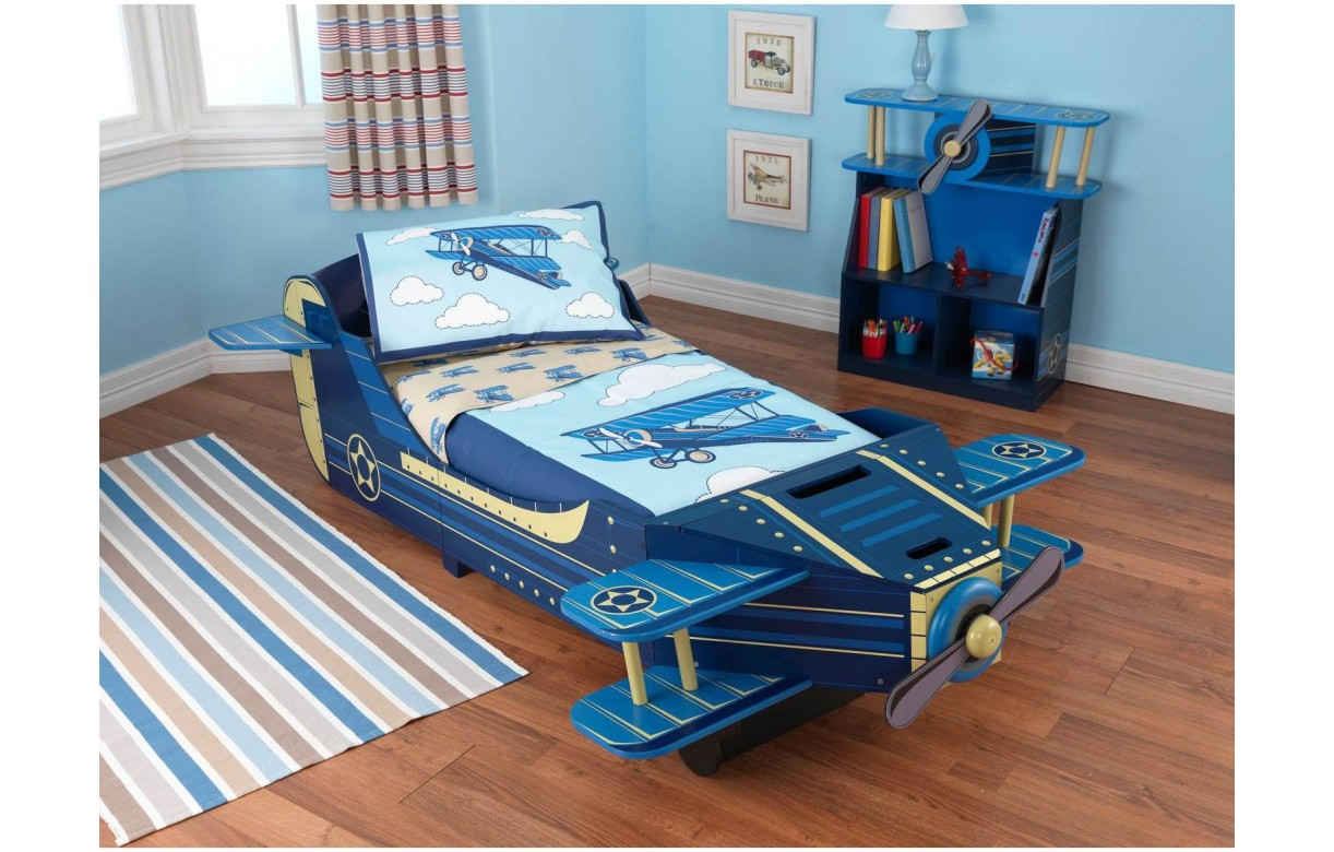 lit avion bleu pour enfant d s 18 mois avec rangement. Black Bedroom Furniture Sets. Home Design Ideas