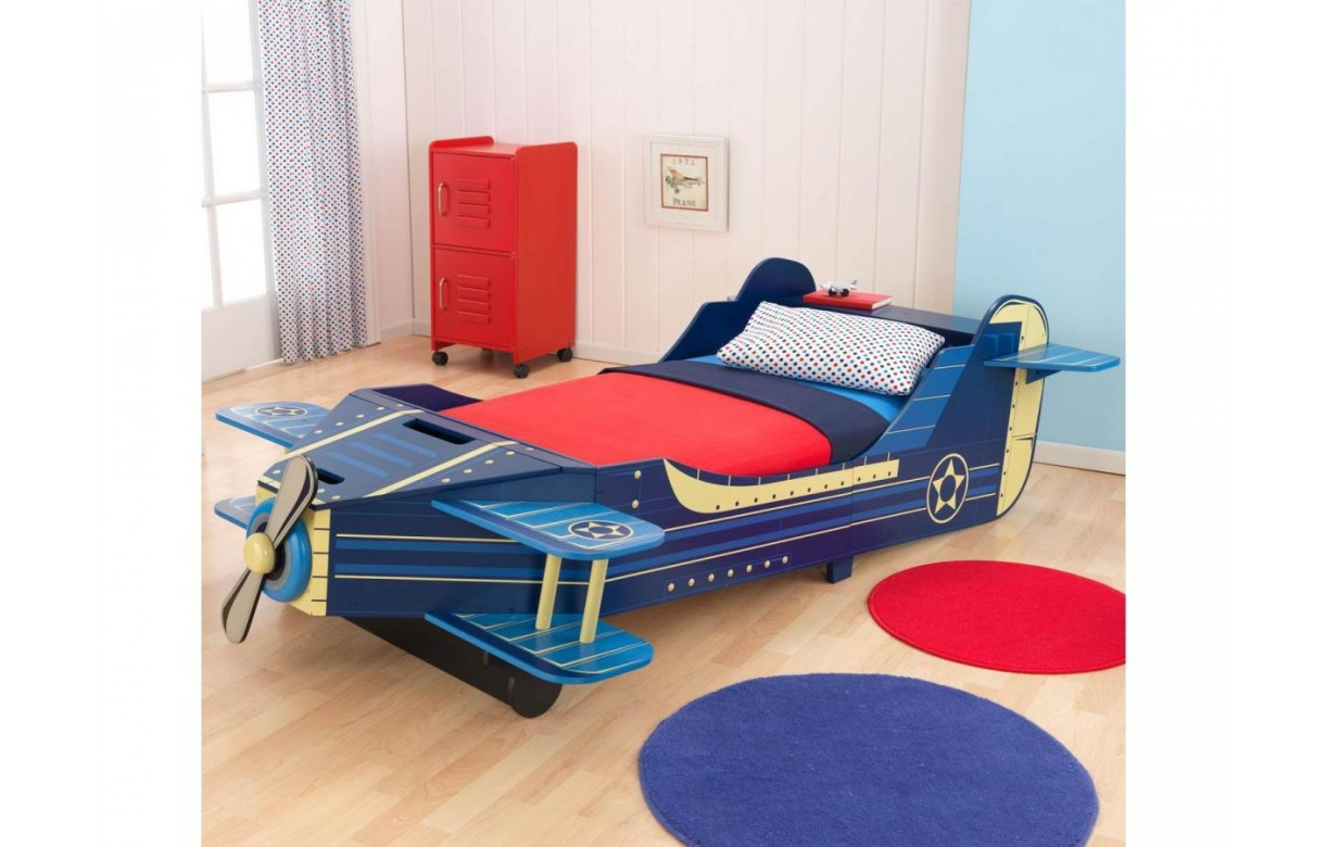 lit avion bleu pour enfant d s 18 mois avec rangement decome store. Black Bedroom Furniture Sets. Home Design Ideas