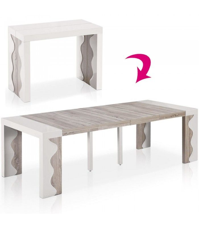 Table console extensible 12 couverts ivoire et chene for Table salle a manger console extensible