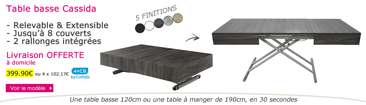 Table relevable et extensible Cassida
